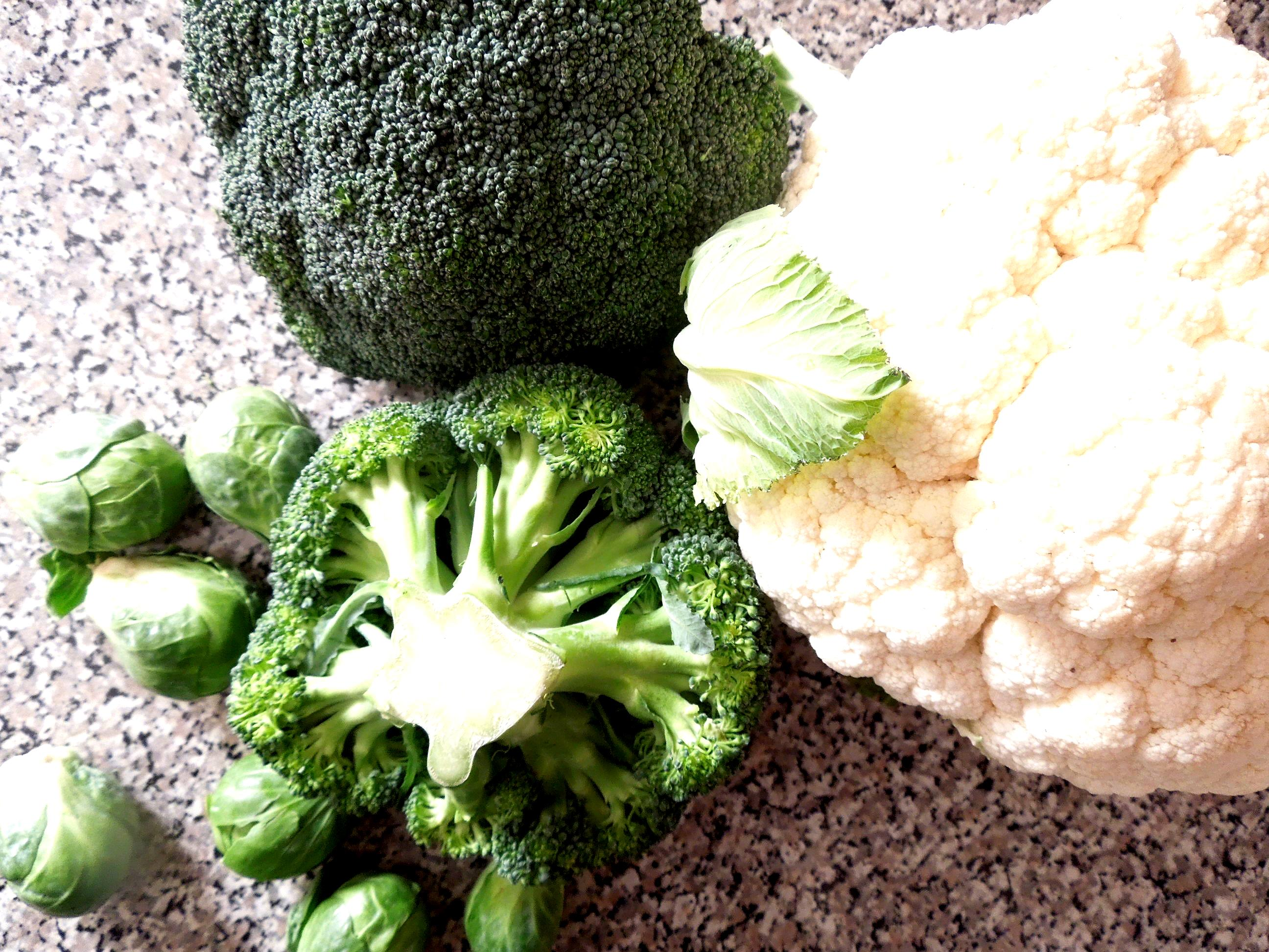 Broccoli, cauliflower, Brussels sprouts, cruciferous