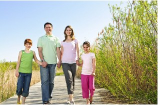 healthy walking family